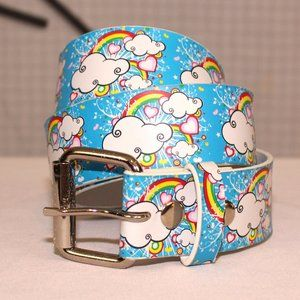 Faux leather clouds and rainbows belt